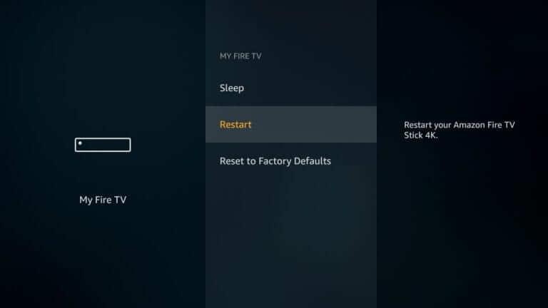 Restart/Reboot Amazon Firestick