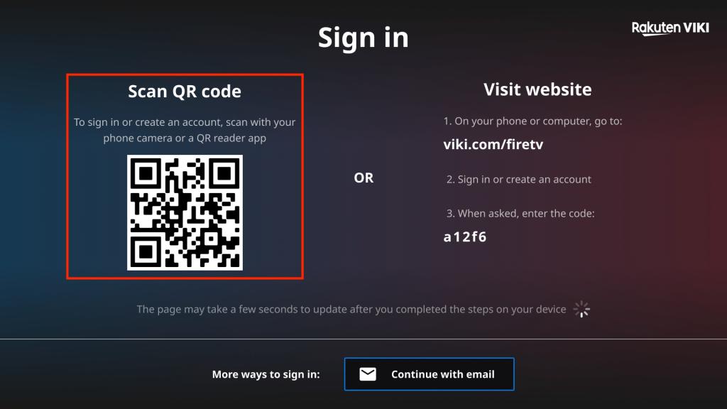 scan QR code to create Viki account on Firestick