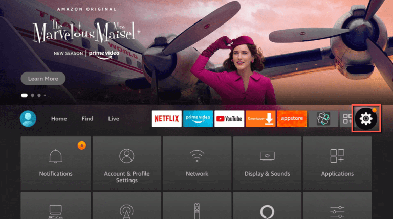 click on settings on firestick home screen