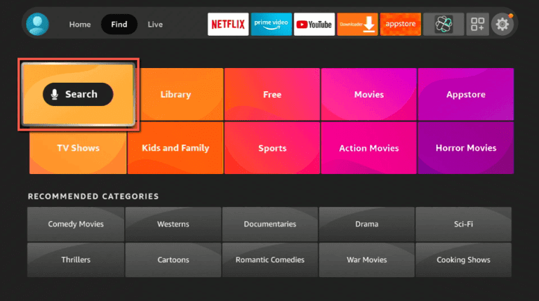 click on search to install Viki on Firestick
