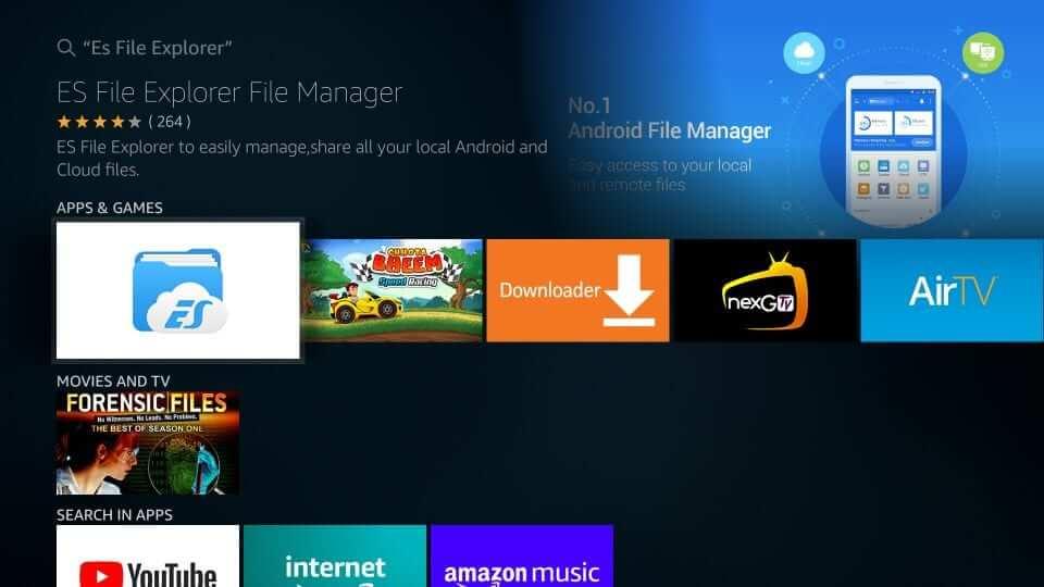 click on ES File Explorer app to install Kodi 18
