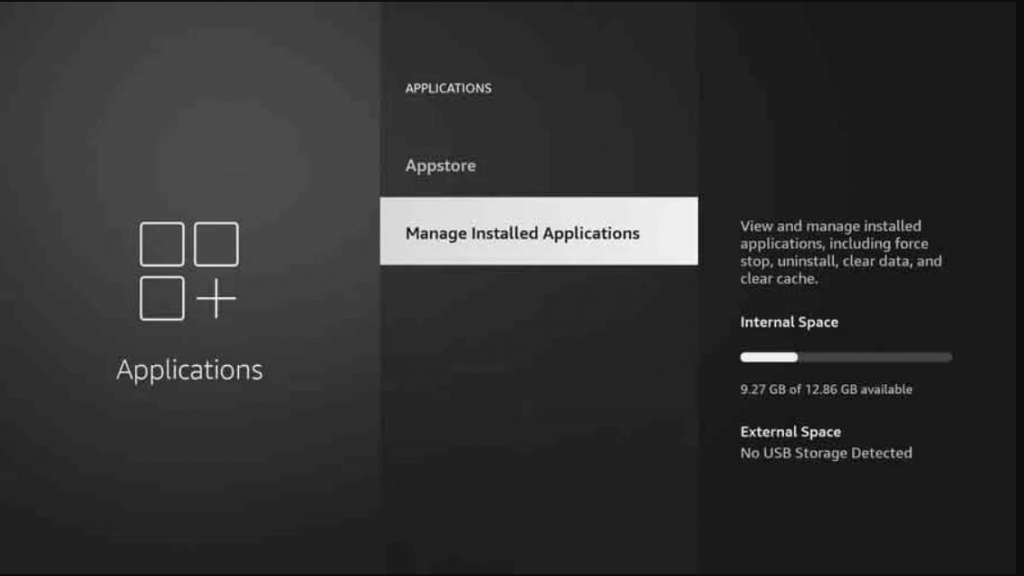 select manage installed applications to uninstall Kodi19