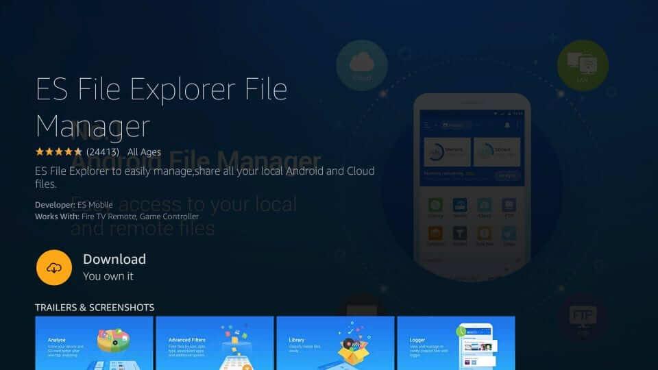 click on download to install ES File Explorer on firestick