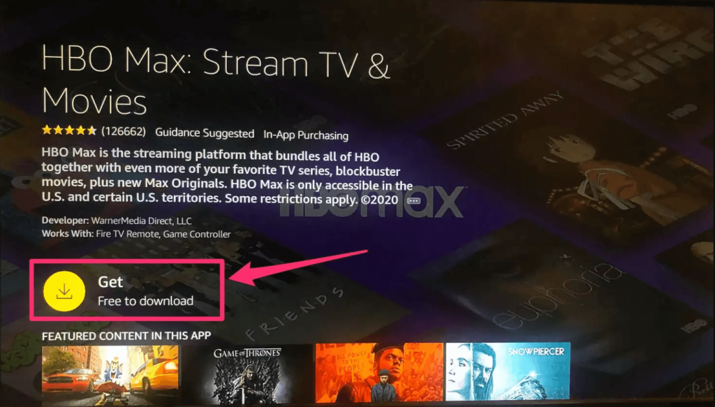 Click on Get to install HBO Max on Firestick