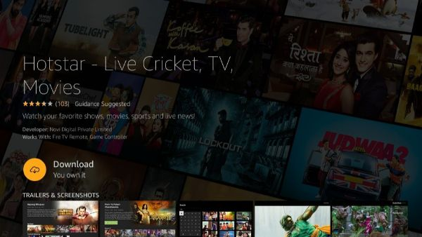 click on download to install Hotstar on Firestick