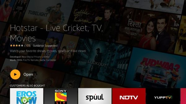 click on open to launch Hotstar