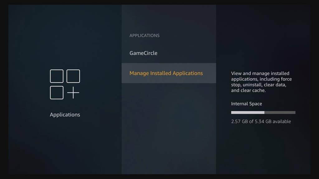 click on Manage Installed Applications to reset kodi on Firetv