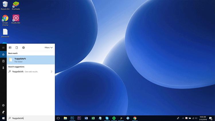 select the folder to reset kodi on windows