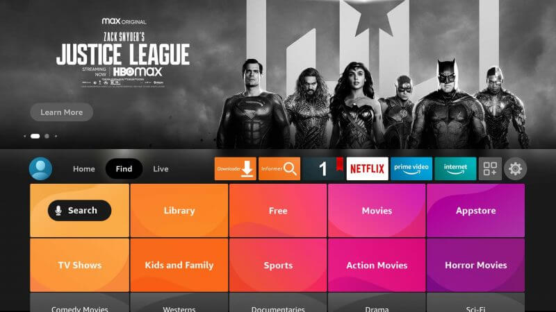 click on search menu to watch MLB on Firestick
