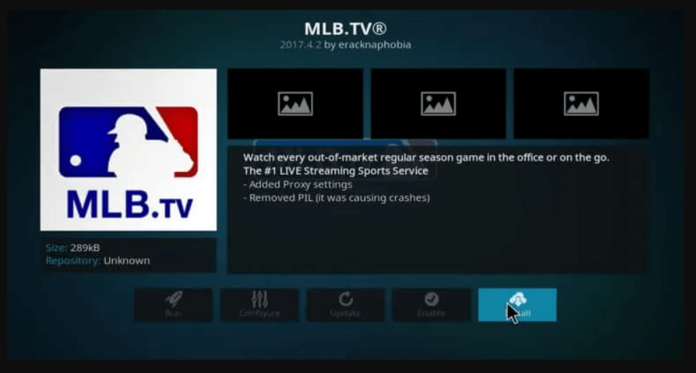 click install to watch MLB on Firestick