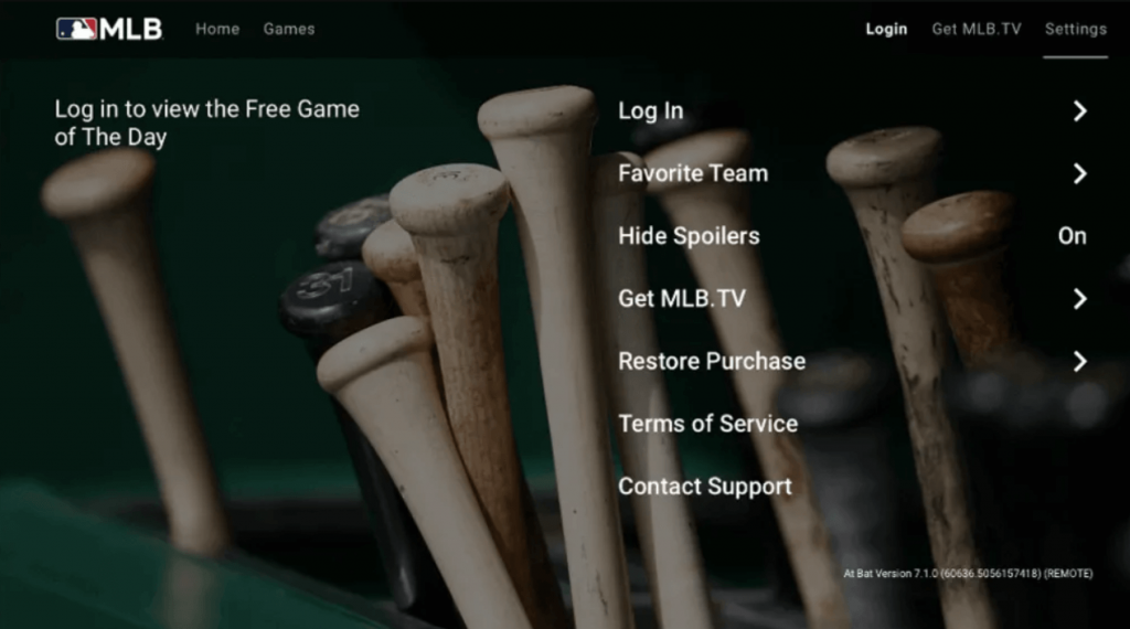 click on login to watch MLB on Firestick