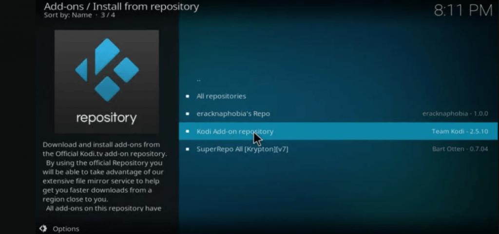 click kodi add-on from repository