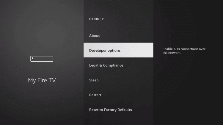 click developer options to to watch squid game on firestick
